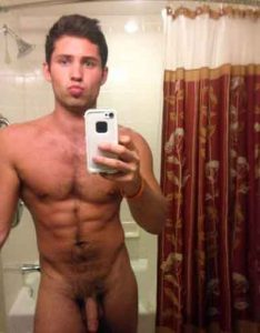 Canadian hunk gay naked in front of the mirror