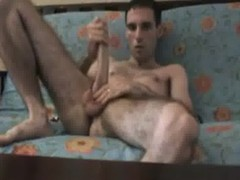 Hairy Gay Jerks Off And Sucks His Big Penis
