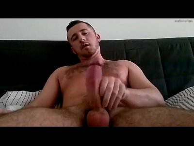 Hairy Hunk Masturbates And Cums On The Couch