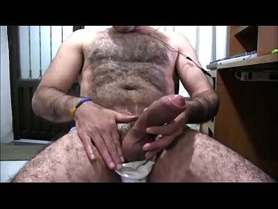 Hairy Daddy Beating Off His Big Uncut Penis