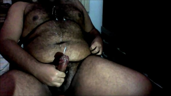 Fat amateur shoots a huge load on hairy chest